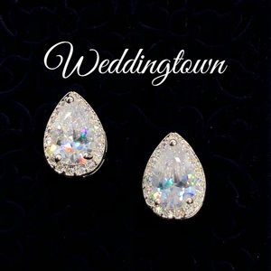 Pear Halo earrings bridal wedding statement luxury